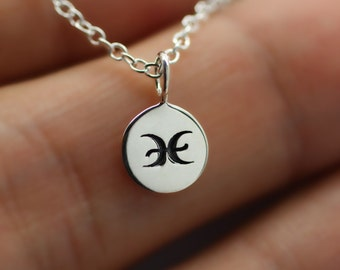 PISCES NECKLACE - 925 Sterling Silver - Tiny Horoscope Zodiac Charm Jewelry NEW