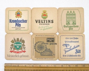 6 Vintage German Beer Coasters - 6 Different, Germany Collectible