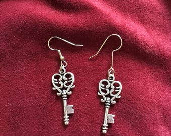 Heart key earrings
