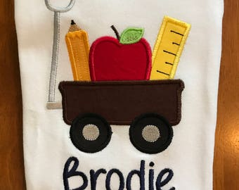 Back to School Wagon Embroidered Birthday Shirt or Baby Bodysuit
