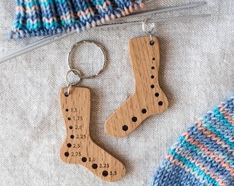 Knitting Needle Gauge, Key-chain & Stitch Marker 3-in-1 Tiny Sock Blocker