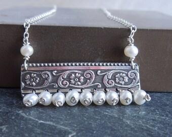 Sterling Silber und Süßwasser Perle Halskette - Blumenrolle Kette Halskette - Draht umwickelt handgefertigt
