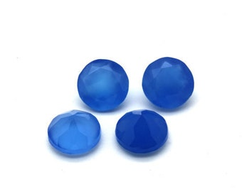 10 Pieces natural blue chalcedony  faceted round shape  gemstone