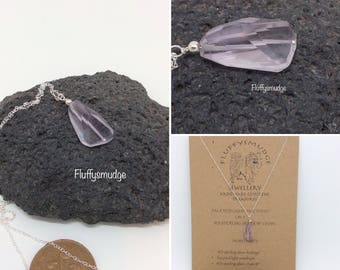 """Faceted light amethyst on a 925 sterling silver 18"""" chain"""