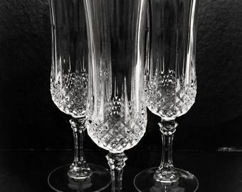 Cristal D'Arques Heavy Lead Crystal Champagne Glasses,Set of 6,Longchamp Pattern Goblets,Made in France,Fancy Stemware,Vintage Stemware