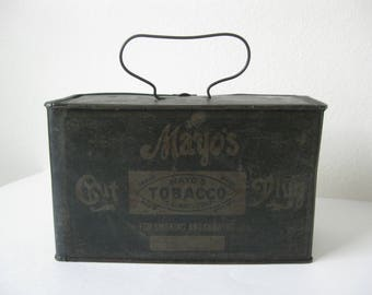 ON SALE *** Antique Tin Mayo's Cut Plug Tobacco Lunch Pail - Advertising - Copyright 1878