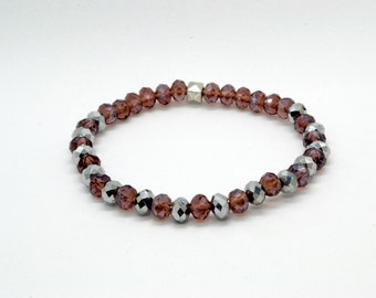 bracelet of purple glass with silver