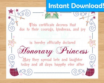 INSTANT DOWNLOAD!  Mulan Inspired Princess Certificate - For Coronation Ceremony, Birthday Gift, Party Favors