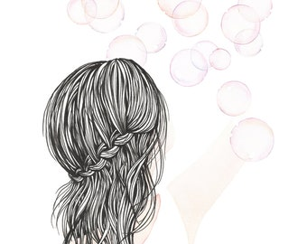 Postcard Girl with Bubbles, Illustrated Postcard, Aquarel and Pen