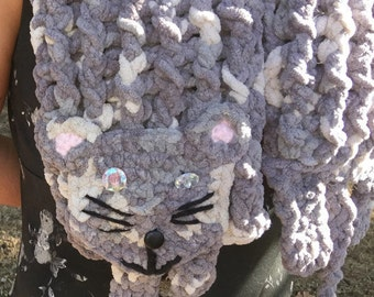 Crochet PATTERN ONLY! Kitty Cat Animal Scarf with hidden front clasp