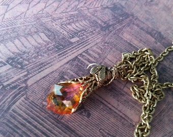 Spring  Blush Swarovski Necklace with Dragonfly, Peach Crystal Necklace, Dragonfly Necklace, Spring gifts, Weddings, Prom, Mother's Day gift