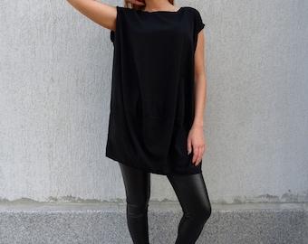 Womens Tunic/Black Tunic/Oversize Tunic/Tunic Top/Plus Size Tunic/Tunic Dress/Cotton Tunic/Summer Tunic/Maxi Tunic/Long Tunic/YANORA