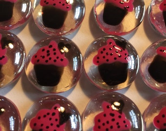 Cupcakes cupcake  birthday party favors decorations  hand painted glass gems pink and black