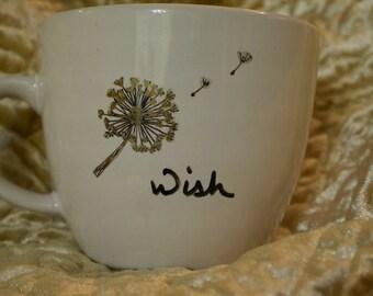 Wish Dandelion Custom Mug Black and Gold Gift Present for Friend Teacher or Hostess Make a Wish Birthday Mug Pixy Dust