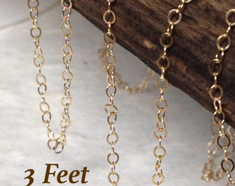 Gold Filled Flat Chain - 14kt Gold Filled Cable Chain  2mm x 1.5mm -- 3 Feet - Oakhill Silver Supply CH14