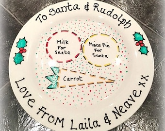Christmas Eve Plate / Santa Plate / Rudolph Plate / Mince Pie Plate