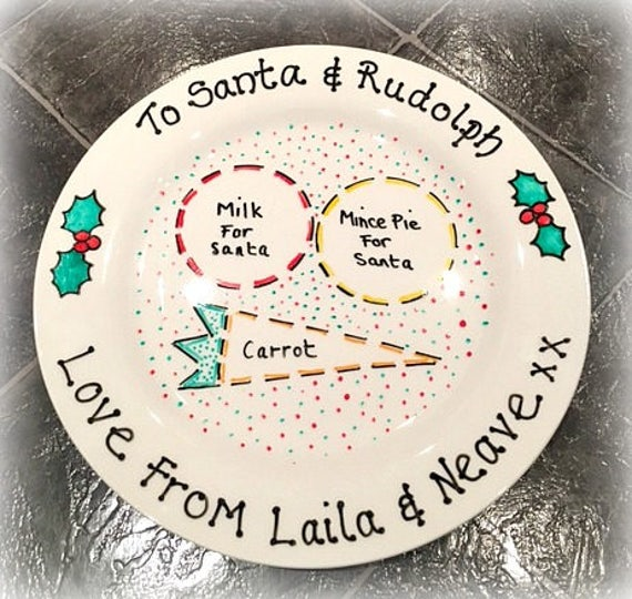 Christmas Eve Plate / Santa Plate / Rudolph Plate / Mince Pie Plate  sc 1 st  Etsy & Christmas Eve Plate / Santa Plate / Rudolph Plate / Mince Pie