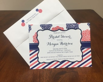 Qty. 25 Navy and Coral Mum  Bridal Shower Invites Coral Navy Wedding Shower invitation Mum Bridal Shower invite with optional return address