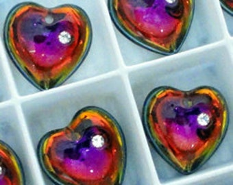 2pc - 16mm RARE Swarovski Crystal VOLCANO Heart Pendants Charms Drops Style 6221/5 With Stone