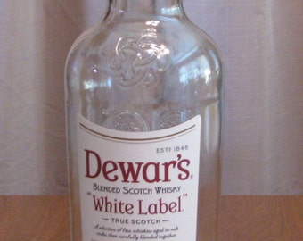 Dewar's White Label scotch empty 1 L bottle, bottle crafts, liquor bottle for DIY projects, empty liquor bottle, bottle for craft projects