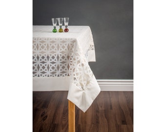 Marvelous Modern Tablecloth   Cream And White Satin Tablecloth With Border   Custom  Tablecloth