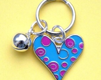 Cat Collar Charms with Enamel Love Heart Charm & Silver Bell New LB6