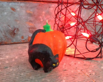 vintage halloween candle black cat jack o'lantern pumpkin not gurley candles halloween decoration vintage halloween decor