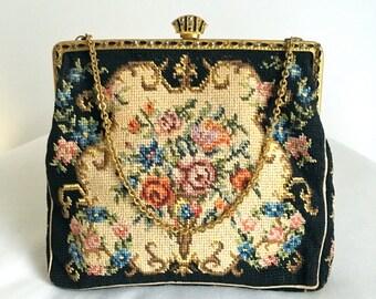 Vintage Black Floral Petit Point Handbag, Made in Czechoslovakia