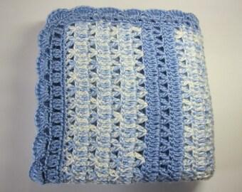 Baby Blanket, Crochet Blanket, Blue Baby Blanket, Blue Baby Afghan, Baby Boy Blanket, Baby Gift, Baby Shower Gift, Silly Salmon Crochet