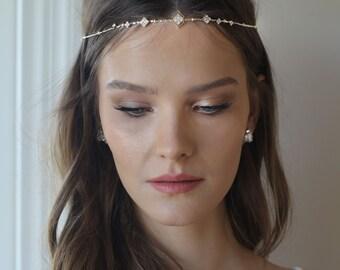 Boho Bridal Headband, wedding hair accessories, bride Headband, Boho Head Piece, gold rhinestone forehead , brides headpiece