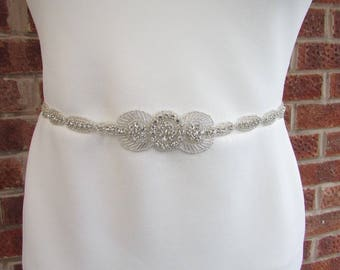 Silver Diamante Bridal Wedding Dress Belt Bridesmaid Sash Vintage Art Deco 5141