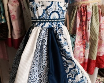 Easter little girls Blue and White Dress/ Tea Party Dress, Girls Birthday Dress