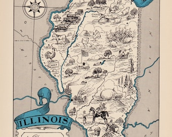 30's Vintage ILLINOIS Picture Map Pictorial Illinois State Cartoon Map Print Gallery Wall Art Library Office Decor Wedding Birthday Gift