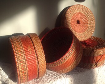 Set of 3 baskets or boxes made using rafia