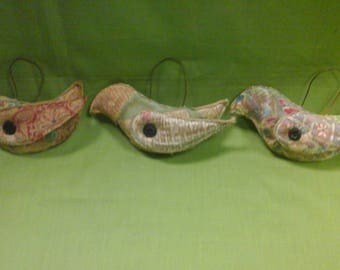 Set of 3 Quilted Bird Ornaments