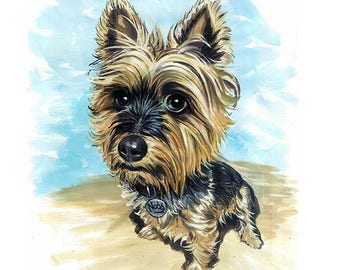Custom Dog Portrait, Turns your dog picture into a caricature