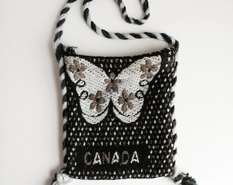 Small Woven Black and White Boho Shoulder Bag Canada Butterfly