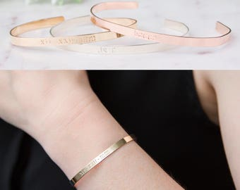 Personalized Cuff Bracelet, Skinny Gold, Rose Gold, Sterling Silver Cuff, Custom Hand Stamped Stacking Cuff, Dainty Cuff, Mantra Bracelet