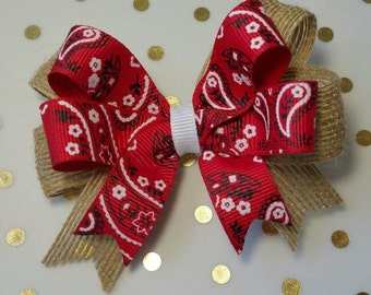Red Bandana Bows Lil Bit Country, Stacked Boutique Bow hair accessory, photo prop, Red Paisley Country Western Cowgirl Birthday Party Burlap