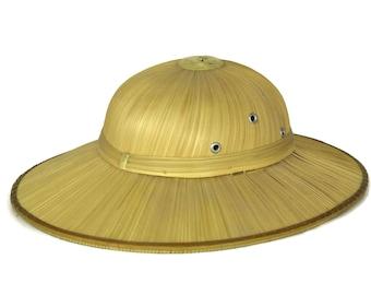Straw Pith Helmet. Vintage Safari Hat.