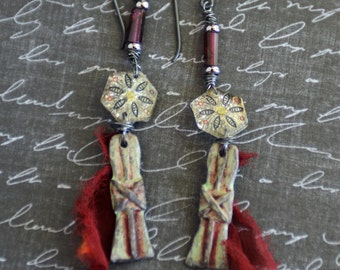 Ancient: Rustic Earrings, January Birthstone Garnet, Handcast Pewter Goth Earrings, Red Bohemian Garnet Earrings, Silk Sari Ribbon Talismans