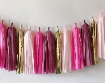 Blush, Bright Pink, Burgundy and Gold Tassel Garland