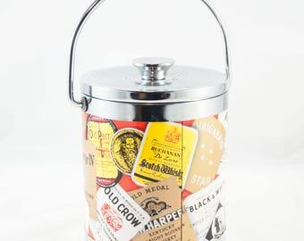 Ice Bucket Scotch Whiskey Bourbon Labels Liquor Brands Advertising - Retro Home Bar Accessory