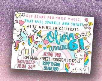 INDIVIDUAL Birthday party invitations, A7, Envelopes included,customized,Unicorn, Girl birthday, Tween girl, Printed for you by me