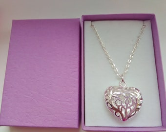 """Hollow Heart Pendant Necklace 25mm (1"""" inch) Silver Plated Bridesmaids, Maid of Honor Gifts Wedding Jewellery Stocking Stuffers Her"""