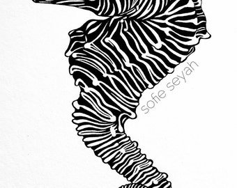 Zebra Seahorse - Sofie Seyah Black and White Nautical Illustration - Nursery Art - A5 Art Print