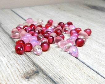 63 Pink Raspberry Creme Fire Polished Czech Teardrops, 8mm Czech Teardrop Blend, Crystal Pink, Pink Opal, Raspberry Creme
