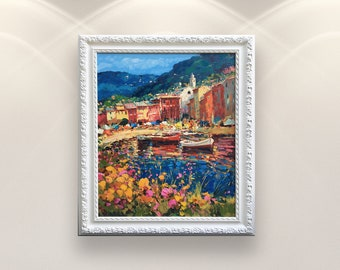 Portofino Italy Painting on Canvas Impressionist Seascape Painting Colourful Village Wall Art with Houses Boats and Flowers Gifts for Wife