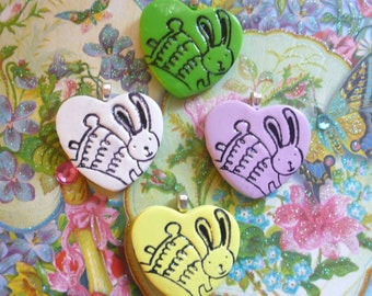 Cute Bunny Jewelry, Bunny Heart Pendant or Bunny Pin Brooch, Optional Necklace, Spring Colors, handmade polymer clay