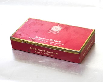 Vintage Benson and Hedges Cigarette Thin Case England Red Vintage Cigar Blue Collectible Box Smokers Multifunctional Wedding Memory ohtteam,